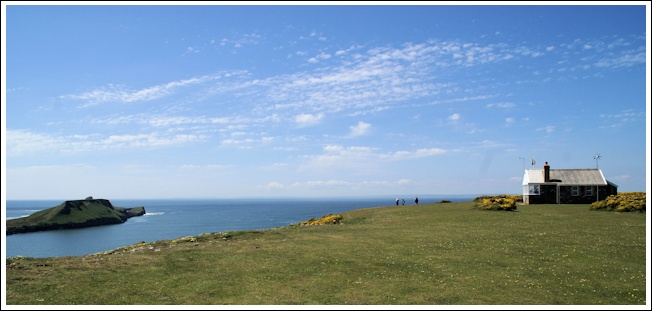 Lookout and Worm's Head with cirrocumulus clouds